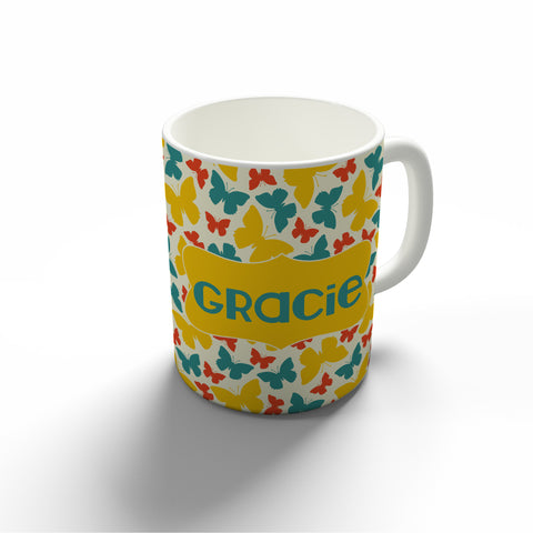 Teal & Yellow Butterfly Mug