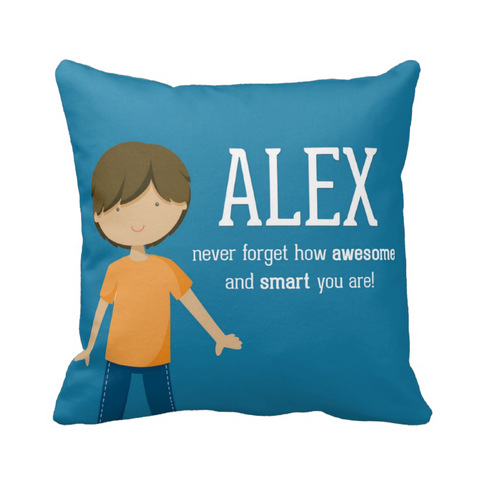 Long Hair Happy Boy Personalized Pillow