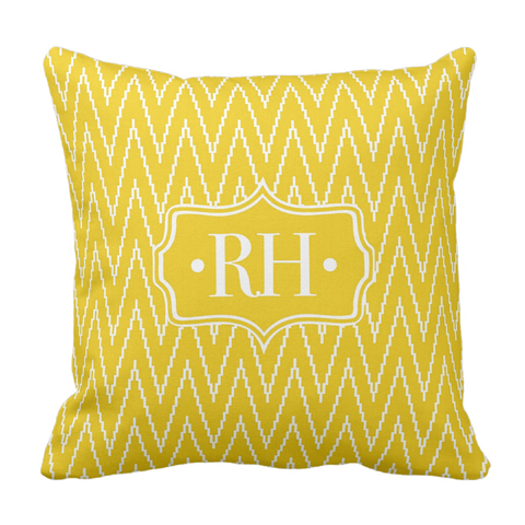 Yellow ZigZag Monogram Throw Pillow