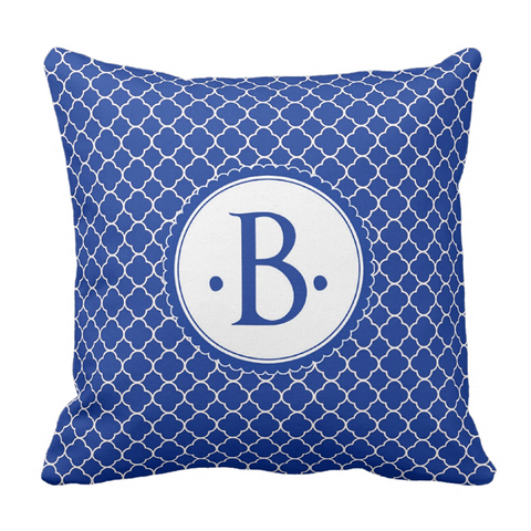 Blue Morrocaan Initial Throw Pillow