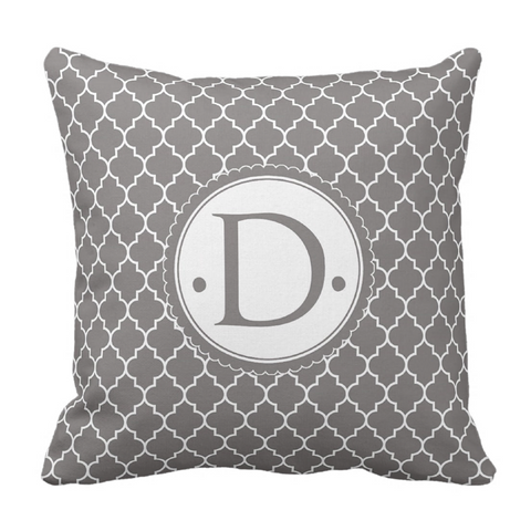 Grey Morrocaan Initial Throw Pillow