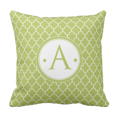 Lime  Morrocaan Initial Throw Pillow