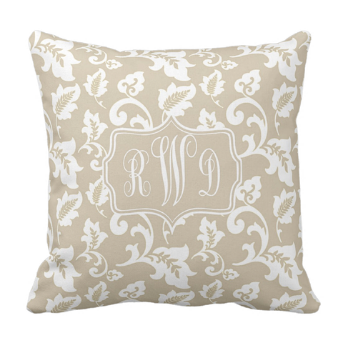 Tan Damask Monogram Throw Pillow