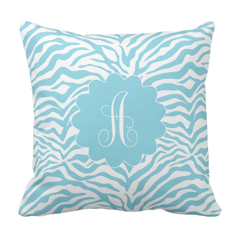 Sky Blue Animal Print Initial Throw Pillow