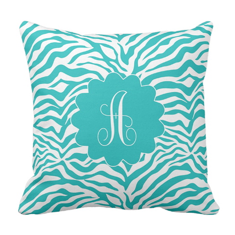 Teal Animal Print Initial Throw Pillow