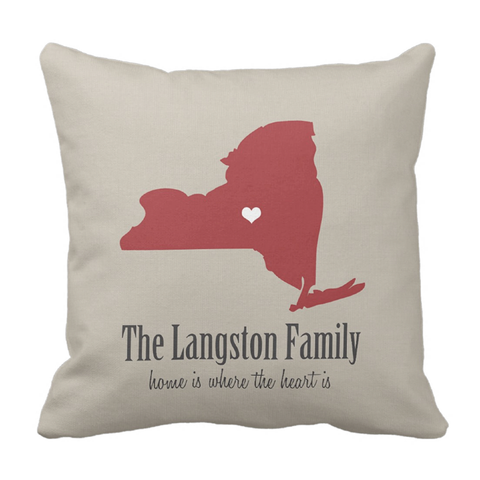State Love Family Throw Pillow
