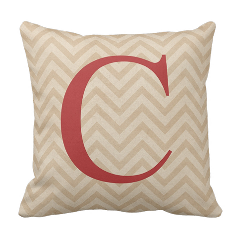 Red & Tan Chevron Throw Pillow