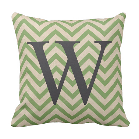 Green Chevron Grey Initital Throw Pillow