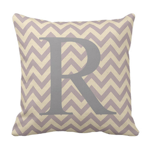 Lavendar Chevron Initital Throw Pillow