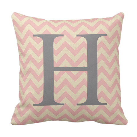 Pink & Grey Inititial Throw Pillow
