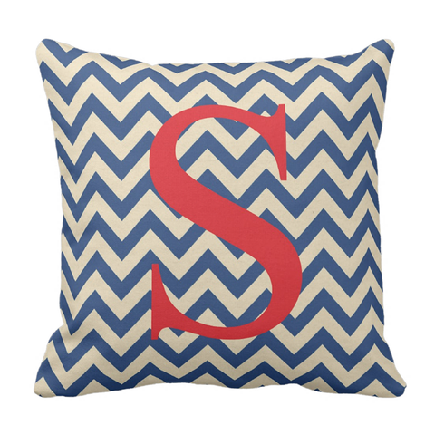 Red & Blue Initital Throw Pillow