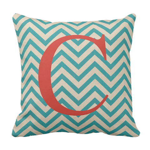 Teal & Orange Initital Throw Pillow