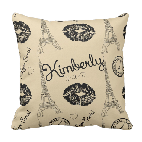 Tan Paris Kiss Personalized Throw Pillow