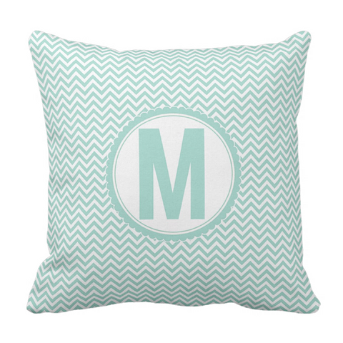 Aqua Chevron Initial Throw Pillow