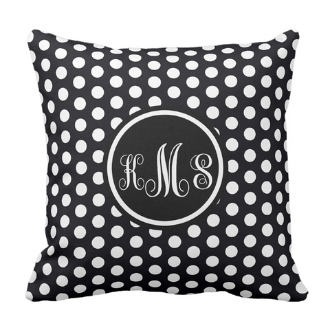 Black & White Dots Monogram Throw Pillow