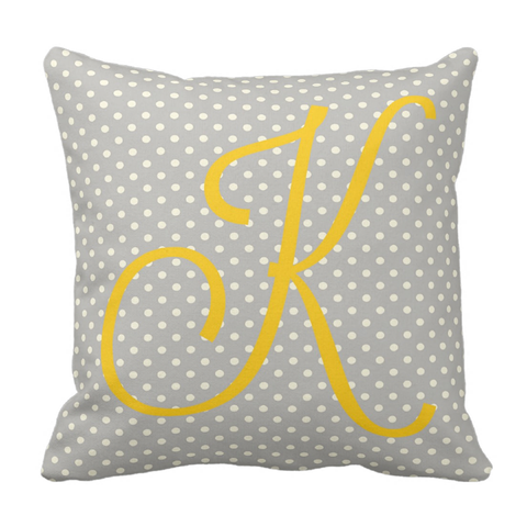Yellow Dots Monogram Throw Pillow