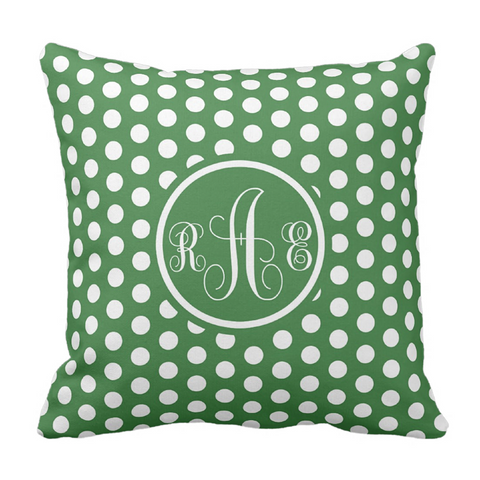 Green Dots Monogram Throw Pillow