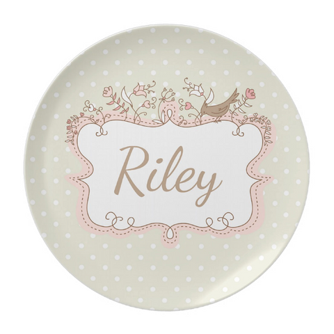 Cream Dot Bird Frame Personalized Plate