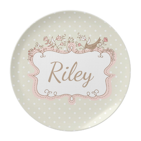 Pink Bird Border Personalized Plate For Girs