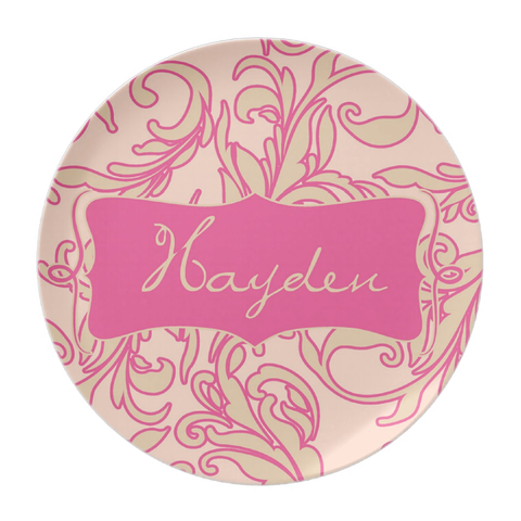 Pink & Cream Scroll Personalized Plate For Girls
