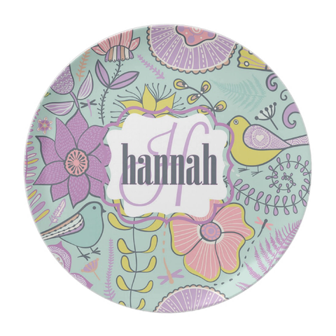 Teal & Lavendar Floral Personalized Plate