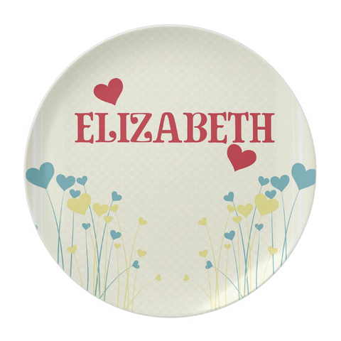 Heart Flower Patch Personalized Plate