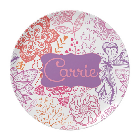 Colorful Sketch Flowers Personalized Plate