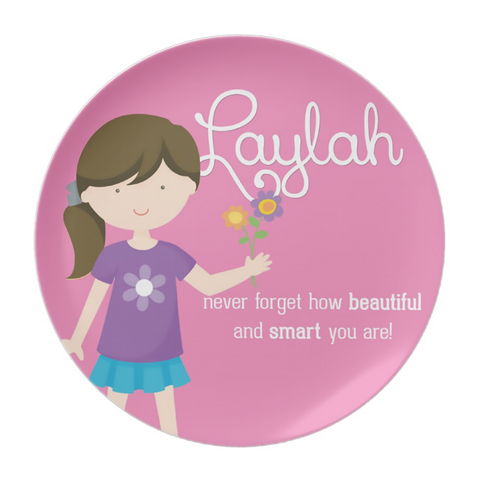 Dark Brown Hair Girl Your Are Beautiful Personalized Plate