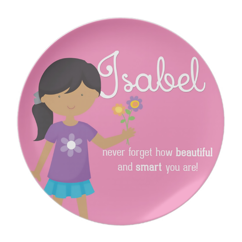 Medium Skin Girl Your Are Beautiful Personalized Plate