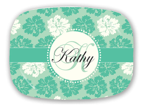 Teal & White Flowers -  Style P020
