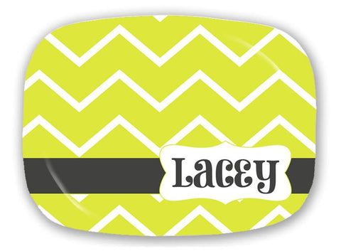 Lime Green Chevron Platter -  Style P042