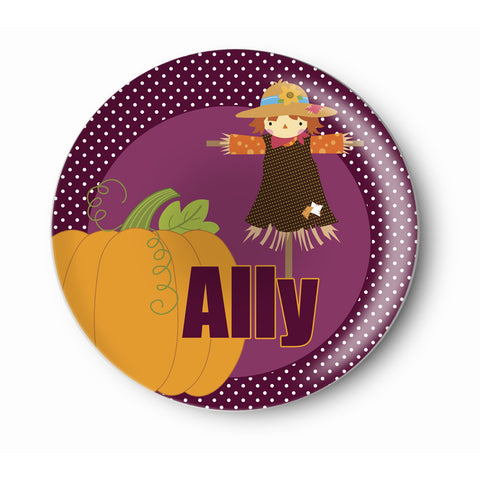 Scarecrow, Pumpkin Girl - Personalized Melamine Plate - Kids Table Setting -  Style 088