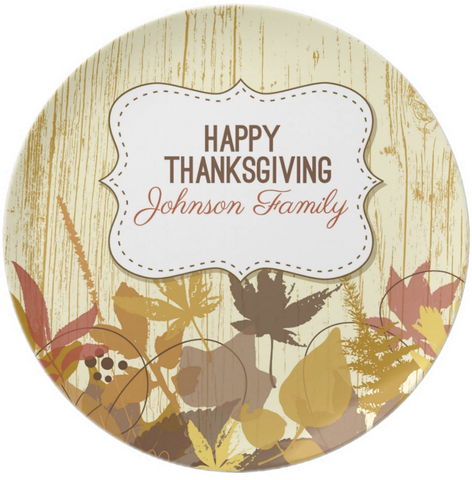 Fall Leaves Personalized Thankgiving Plate