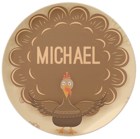 Wild Turkey Personalized Thanksgiving Plate