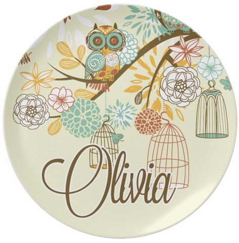 Fall Owl Personalized Thankgiving Plate