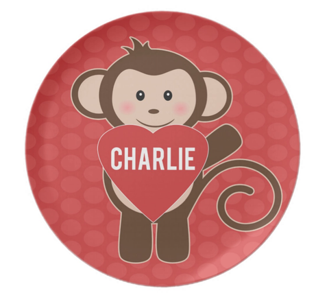Valentine Monkey Personalized Plate