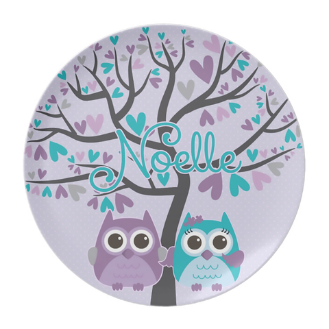 Purple Owl Duo Personalized Plate