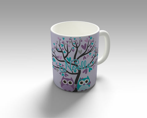 Purple Heart Owl Mugs