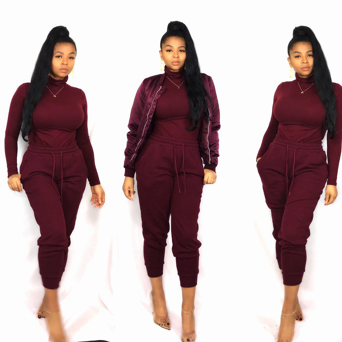 Kimmie Set - Burgundy