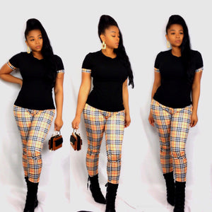 Check Mate Plaid Pants Set