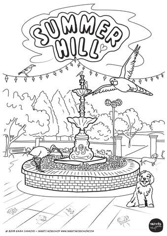 Summer Hill Square Colouring Stencil Download