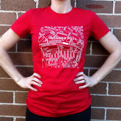 Women's Summer Hill Map - Red Women's T-Shirt.