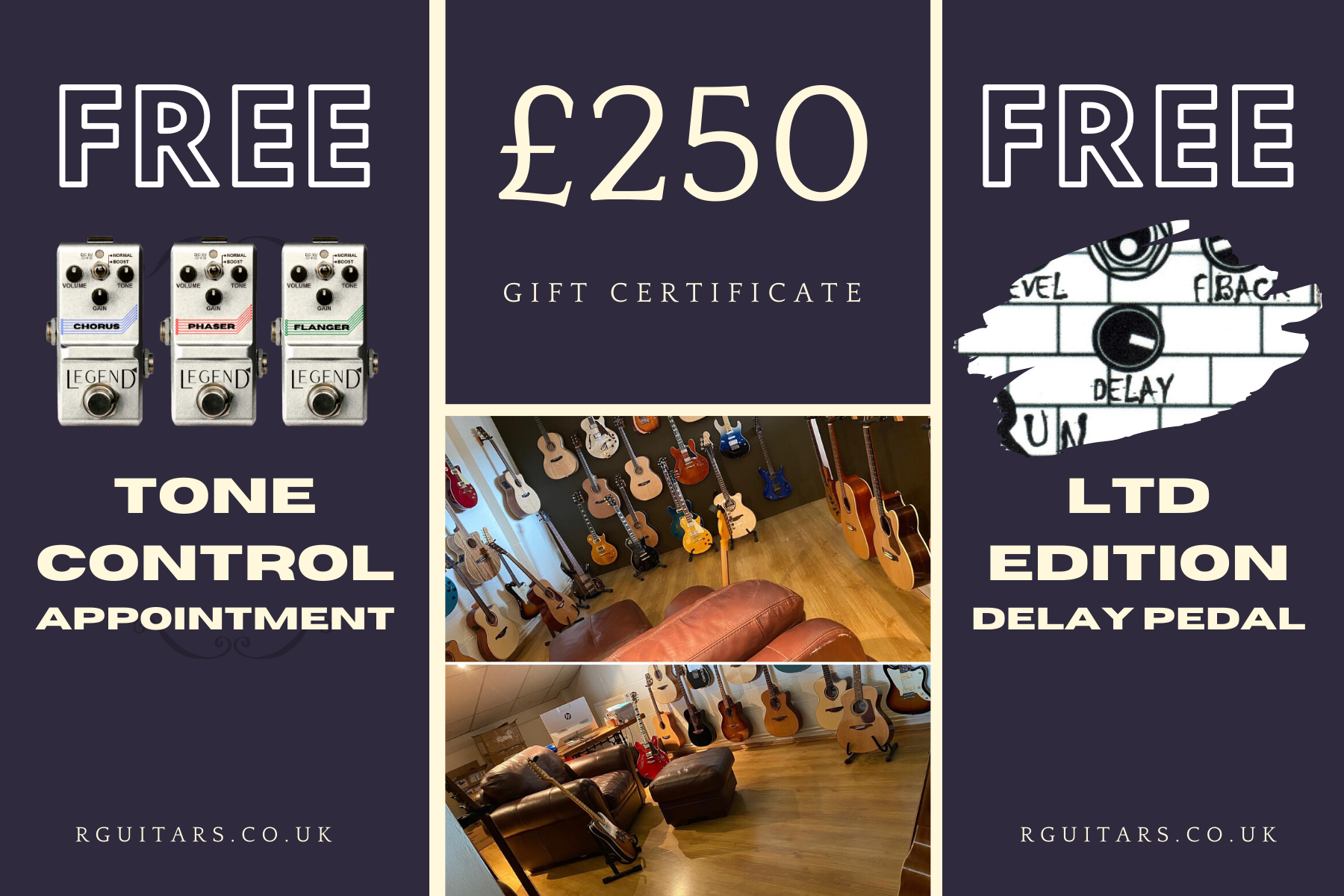 £250 Rguitars.co.uk Vouchers Now Available.  First 50 Receive INCREDIBLE FREE GIFT (£50 Ltd Edition Delay Pedal)