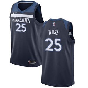 Custom Minnesota Timberwolves Derrick Rose Navy Blue Jersey
