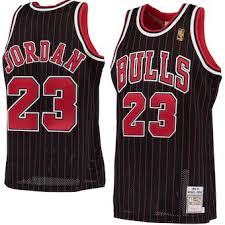 Custom Chicago Bulls Michael Jordan Black Pinstripe Jersey