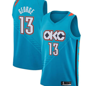 Custom Oklahoma City Thunder Paul George Light Blue Jersey