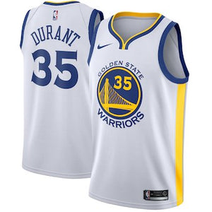 Custom Golden State Warriors  Kevin Durant White Home Jersey