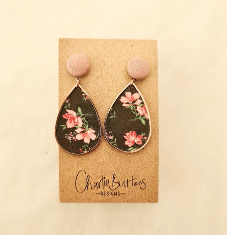 Pink and Black Floral Dangle