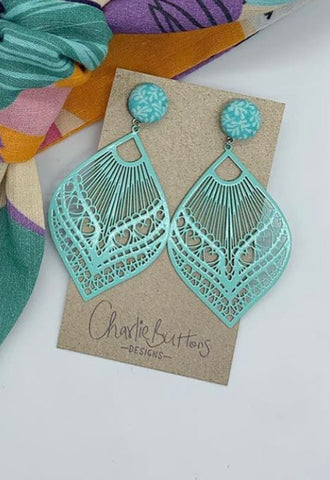 Blue detailed earrings