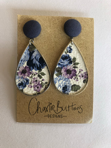 Navy white Floral Drop Earring
